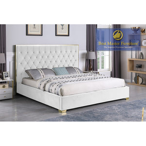 Kressa Upholstered Velour Bed In White with Gold Hardware