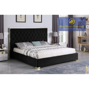 Kressa Upholstered Velour Bed In Black with Gold Hardware