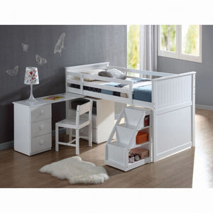 Wyatt Loft Bed With Chest, Pull out Desk And Latter  (White)
