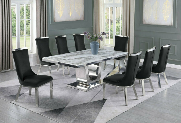 Ryder White Marble Table Dining Collection With Black Chairs
