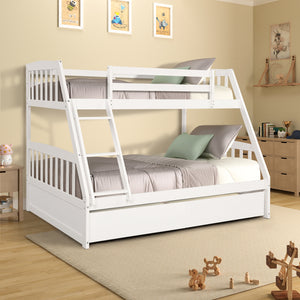 Lucy Wood Twin Over Full Bunk Bed with Storage Drawers (White)
