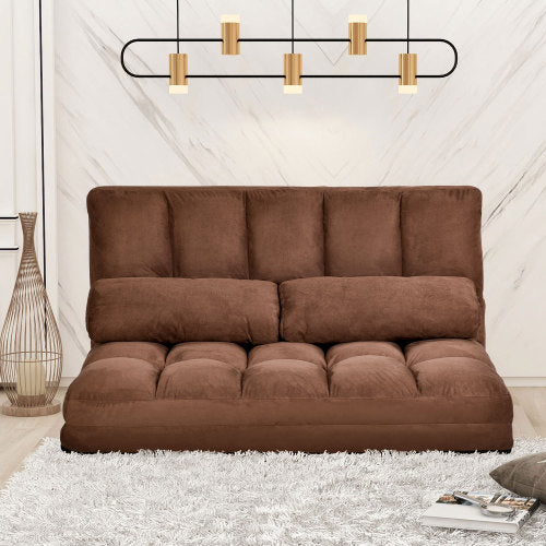 Charlie Lounge Sofa with Two Pillows (Brown)