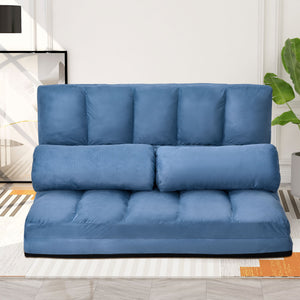 Miles Double Chaise Lounge Sofa Floor Couch and Sofa with Two Pillows (Blue)