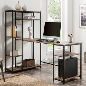 May Computer Desk with Multiple Storage Shelves