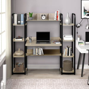 William Desk with Shelfs (Grey and Black)