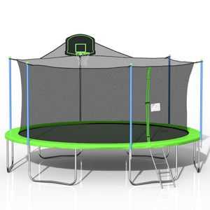 16FT Trampoline In Green with Basketball Hoop
