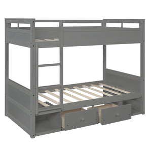 Reagan Twin Over Twin Bunk Bed, With Two Drawers and Two Storage (Grey)