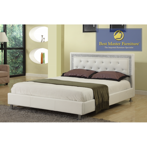 Vee Upholstered White bed