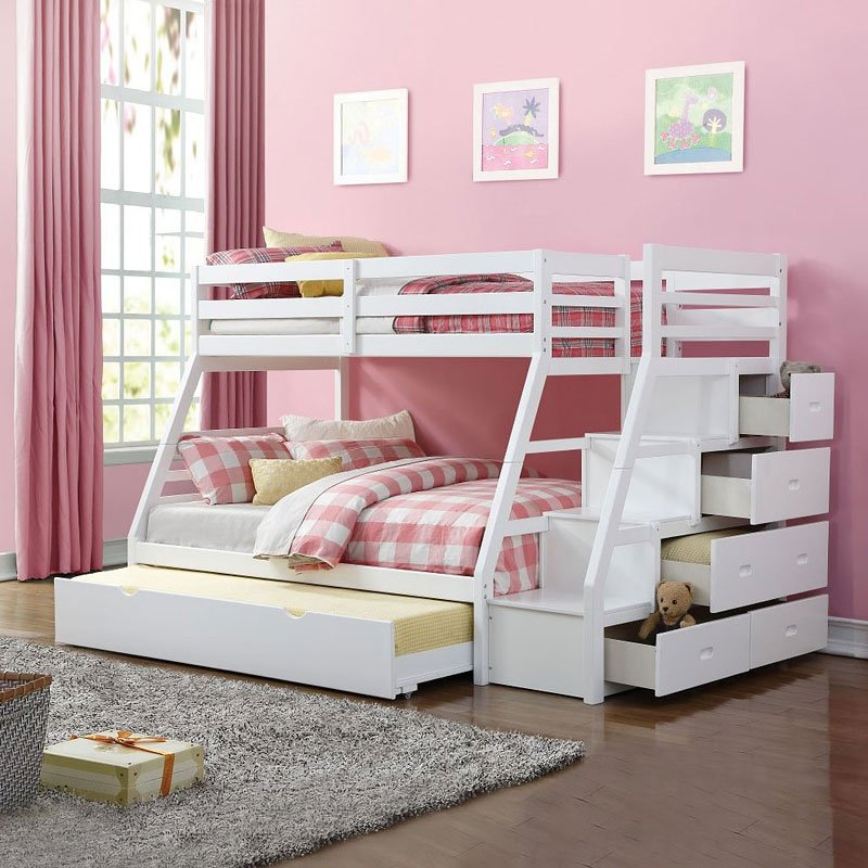 Jason Twin/ Full Bunk Bed w/ Ladder and Trundle