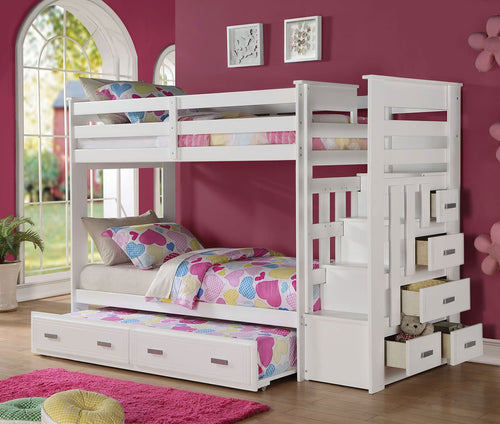 Allentown Twin Bunk Bed w/ Trundle (White)