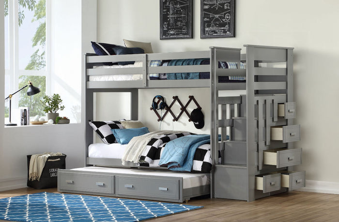 Allentown Bunk Bed & Trundle Twin / Twin with Trundle (Grey)
