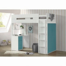 Load image into Gallery viewer, Nerice Twin Loft Bed (White & Teal)