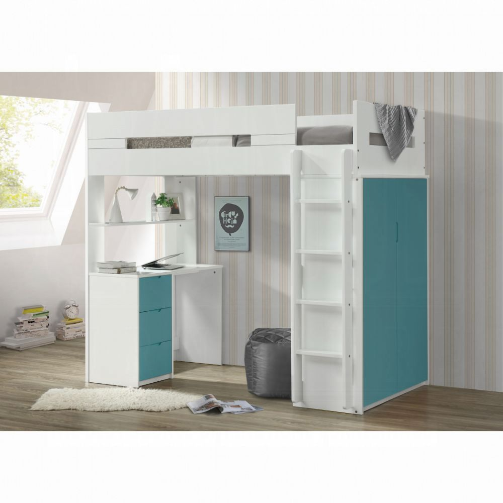 Nerice Twin Loft Bed (White & Teal)