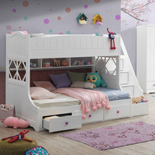 Load image into Gallery viewer, White Meyers Twin/Full Bunk Bed with Storage