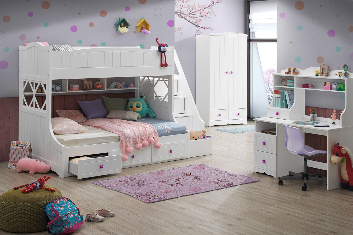 White Meyers Twin/Full Bunk Bed with Storage