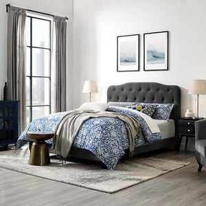 Amelia Upholstered Fabric Bed in Gray