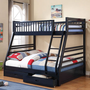 Ashton Twin/ Full Bunk Bed 2 Drawers (Navy Blue)