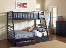 Load image into Gallery viewer, Ashton Twin/ Full Bunk Bed 2 Drawers (Navy Blue)