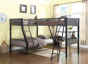 Meyers Twin over Full Bunk Bed w/ Twin Loft & Desk