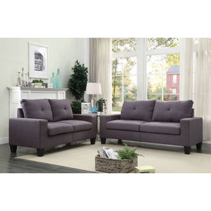 Shana Platinum II Sofa & Loveseat (Grey Linen)