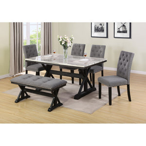 Charlton Grey 6pc Faux Marble Table Set