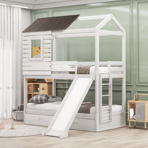 Olivia Twin Over Twin Bunk Bed with Two Storage Drawers and Slide, House-Shaped Wood Bunk Bed for Kids & Teens (White)