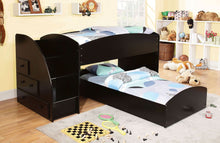 Load image into Gallery viewer, Merritt Black Bunk Bed With Storage Drawers