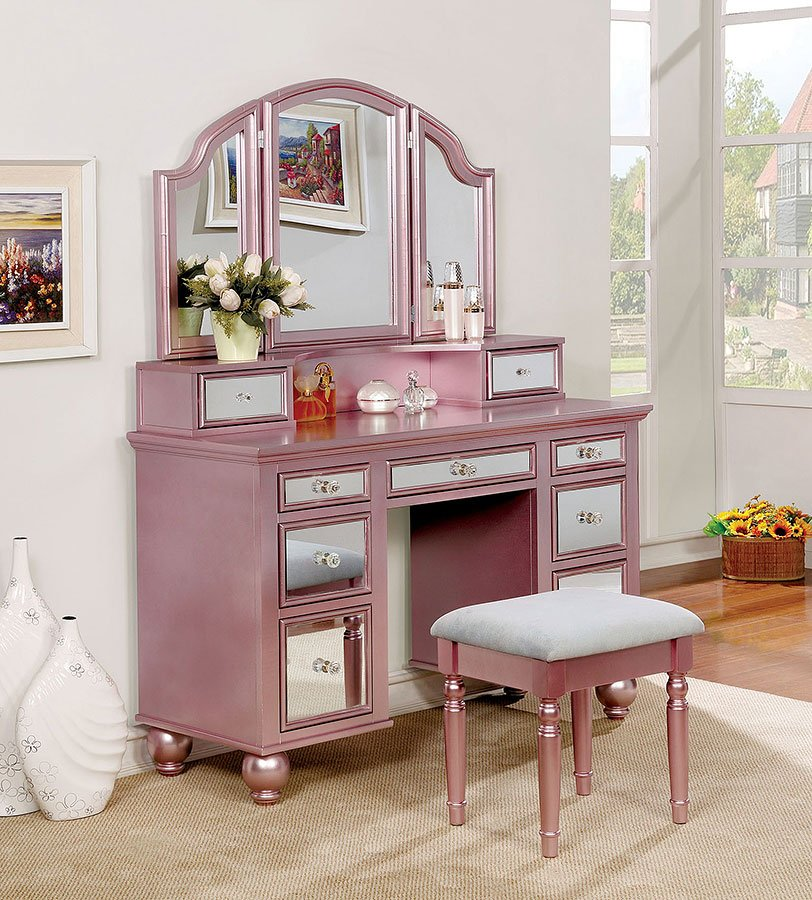 Tracy Vanity With Stool (Rose Gold)
