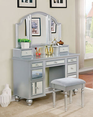 Tracy Vanity With Stool (Silver)