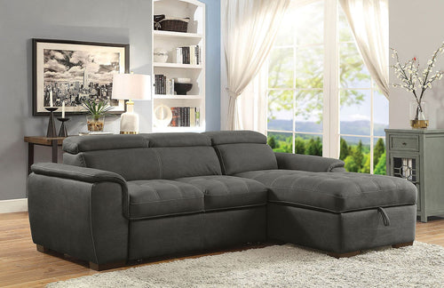 Patty Sectional w/ Pull Out Sleeper (Graphite)