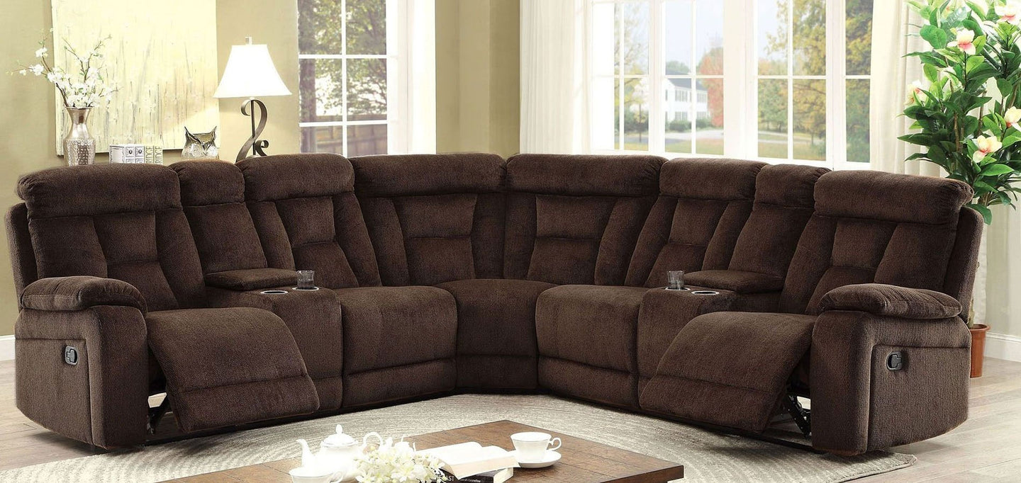 Maybell Sectional with 2 Consoles In Brown