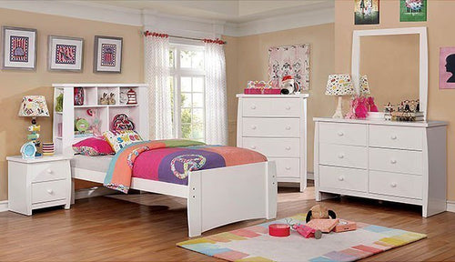 Marlee Youth Bookcase Bedroom Set (White)