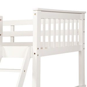 Jenny Twin-Over-Full Bunk Bed with Ladders and Two Storage Drawers (White)