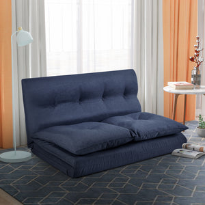 Abby Floor Couch and Sofa Fabric Folding Chaise Lounge (Navy Blue)