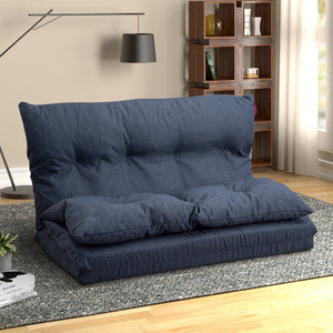 Abby Adjustable Fabric Folding Lounge Sofa (Navy Blue)