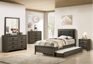Roanne Grey Button Tufted Bed