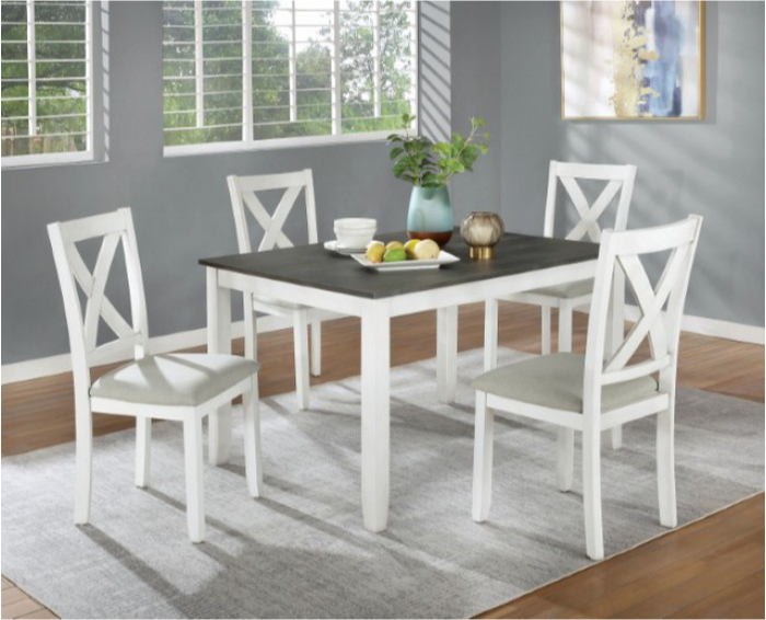 Anya Grey and White 5pc Dining Set