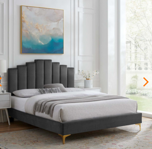 Elise Performance Velvet Platform Bed in Charcoal