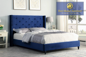 Rixon Velvet Upholstered Bed in Blue
