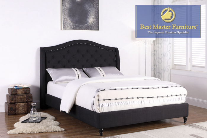 Nick Upholstered Bed in Black