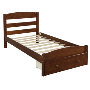 Paisley Platform Twin Bed Frame with Storage Drawer (Walnut)