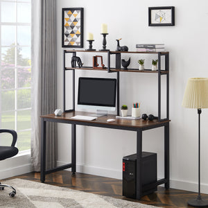 Bruce Computer Desk with Hutch and Shelves (Brown)