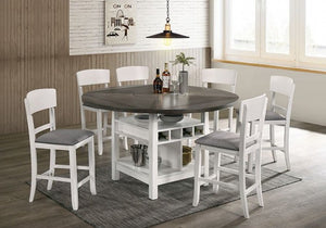 Stacie 5 or 7pc. Counter HT. Dining Set (White & Grey)