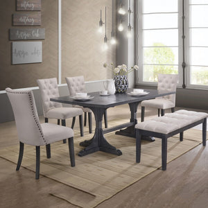 Traditional 6pc Dining Set in Grey with Bench