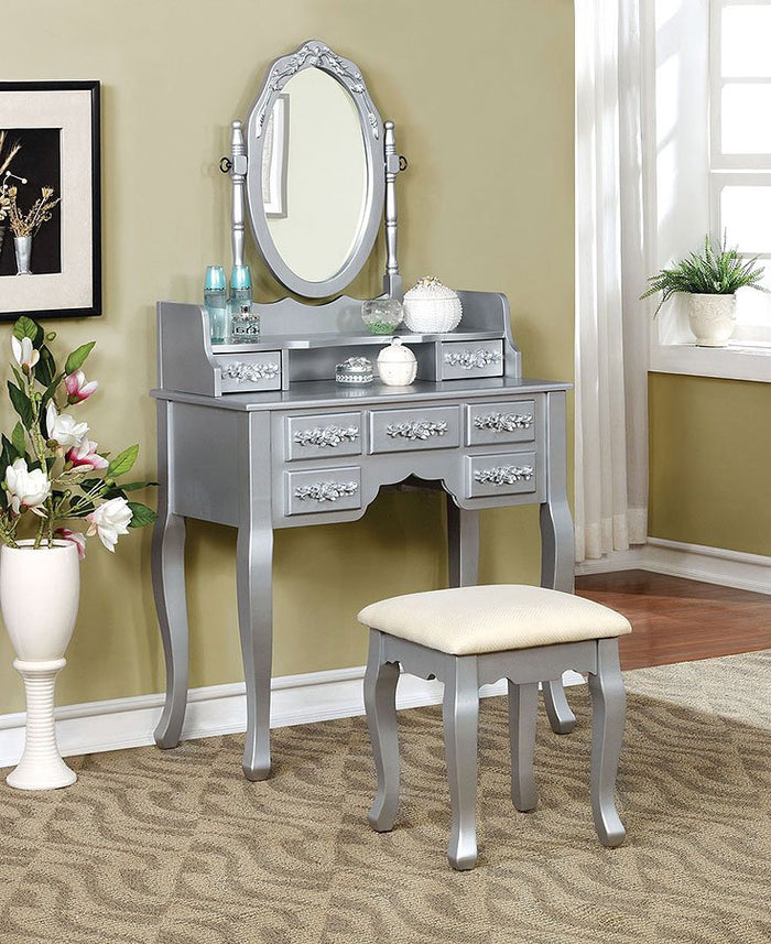 Harriet Vanity With Stool in Silver