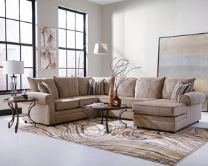 Fairhaven Rolled Arm Sectional Cream Herringbone