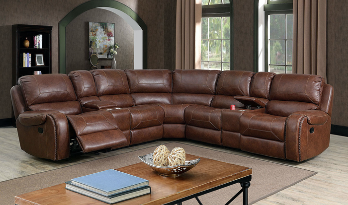 Joanne Manual Sectional In Brown Leatherette