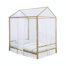 Load image into Gallery viewer, Altadena Twin or Full  Canopy Bed With LED Lighting Matte Gold