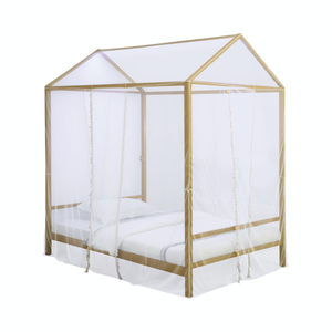 Altadena Twin or Full  Canopy Bed With LED Lighting Matte Gold