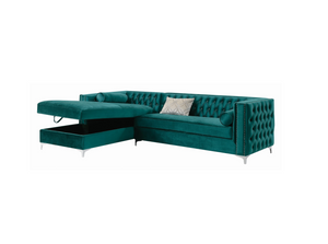 Bellaire Button-Tufted Upholstered Sectional In Teal